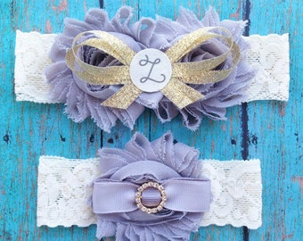 SALE Ivory, Grey, and Gold Personalized Wedding Garters | Initial Z ONLY | Bridal and Toss Garter