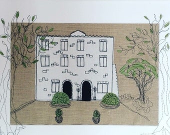 Freehand embroidered wedding venue fabric sketch