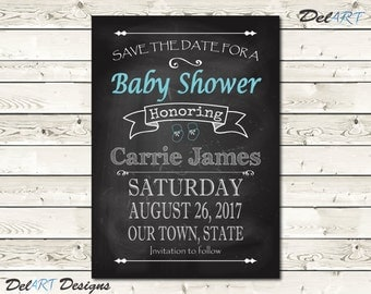 Baby Shower SAVE THE DATE, Chalkboard Art Save the date Invite, Digital File after customization, Save The Date ecard or Printable, girl boy