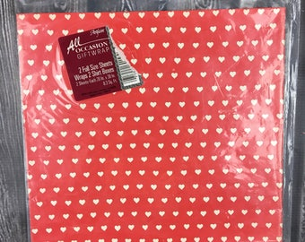 Vintage Red and White Heart Wrapping Paper Gift Wrap Scrapbook Paper 20 x 30 2 Sheets