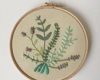 Floral botanical Embroidery Hoop Art