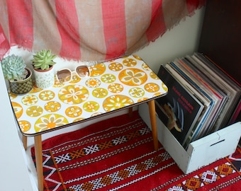 Vintage bohemian up-cycled psychedelic vintage vinyl wallpaper retro table