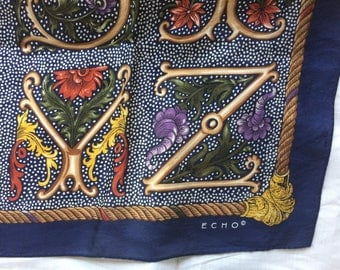 Vintage Square Echo Silk Alphabet Scarf in Navy Blue and Gold - FREE SHIPPING EVERYWHERE