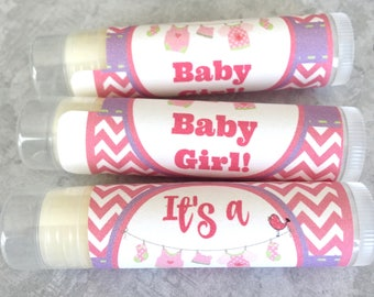 Baby Shower Lip Balm | Set of 5 | Baby Girl Shower Favors | It's a Girl! | Baby Clothesline Shower Favor | Lip Balm | Chapstick