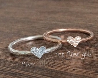 Heart ring, silver heart ring, rose gold ring, heart stacking ring, valentines gift, thin stacking ring