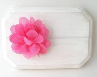 Hot Pink Flower Headband - Pink Cake Smash - Skinny Elastic Baby Bow - Hot Pink Headband - Baby Shower Gift - Pink Baby Headband
