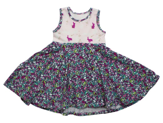 Spring Bunny Dress Easter Dress Baby Flower Twirl Dress Twirly Dress Summer Dress Toddler Dress Child Dress Baby Bunnies
