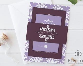 damask wedding invitation bundle damask invitations aubergine lavender damask wedding invite