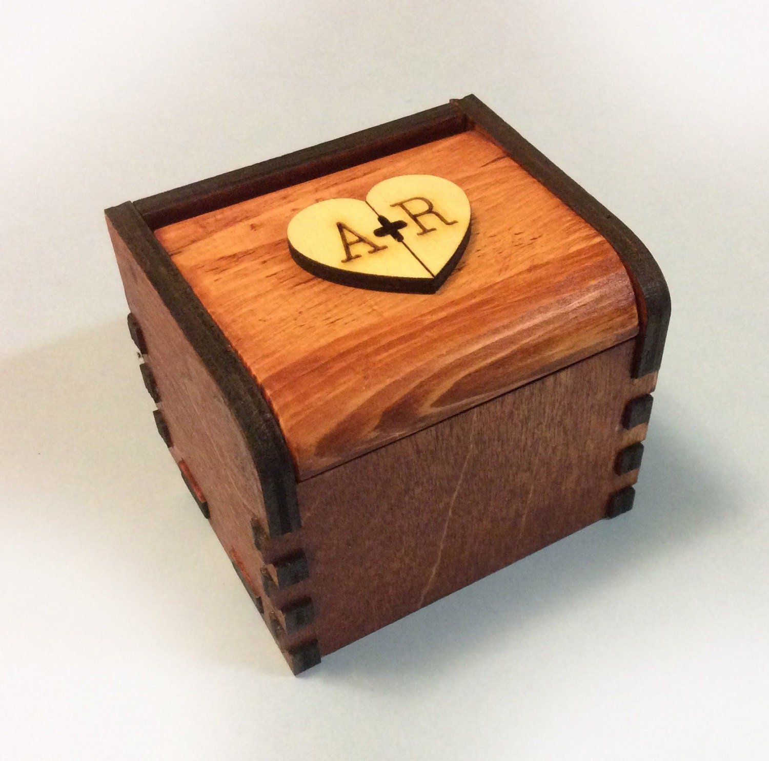 Custom Wedding ring box,initial A&R,ring box Bearer Pillow Alternative, Wooden ring box, Wedding Ring Box, Rustic Wedding ring box