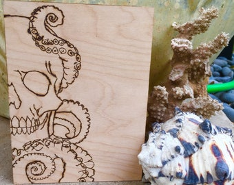 Skull and Tentacles Woodburning, Wall Decor