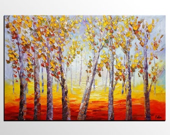 Oil Painting Canvas, Landscape Painting, Autumn Tree, Wall Art Canvas, Modern Art, Abstract Art, Abstract Painting, Rustic Canvas Painting
