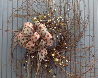 Wispy grapevine patriotic wreath/stars and berries/country/farmhouse/red/white/blue/primitive decor