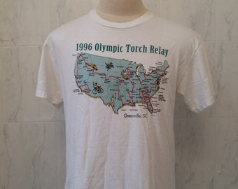 """90s vintage """"1996 Olympic Torch Relay"""" tshirt, Hanes Heavyweight, 100% cotton Size L, Made in the USA"""