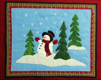 Wool Applique Snowy Day Wall Hanging Pattern - White Oak Ridge Designs