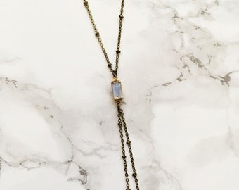 Bolo and the Beautiful - Hello Darling. Bolo Necklace. Handmade. Minimalistic. Dainty. Casual. Y Necklace. Lariat. Antique Bronze. Vintage.
