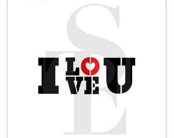 I Love U Stencil