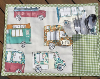 Ice cream van placemats with cutlery/napkin pocket