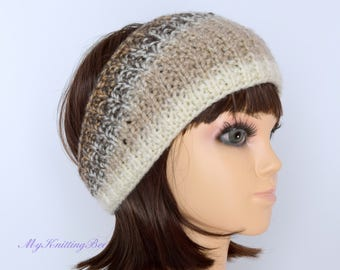 Womens Knitted Ear Warmer in Multi Color Beige and Brown