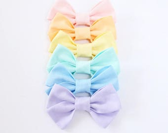 Pastel Criss Cross Hair Bow // Nylon Headband or Clips // Easter Hair Bow //Pink, Orange, Yellow, Mint, Blue, Lavender