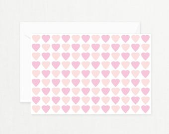 """Pink Hearts Greeting Card: """"It's a Girl!"""" Heart Printable Card for New Baby, Baby Shower, New Mother, Baby Girl, Girl's Birthday, Postcard"""