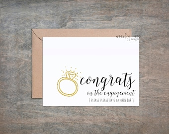 engagement - congrats - funny wedding greeting card open bar