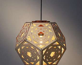 No. 34 laser cut wooden hanging lamp handcrafted Dutch Design from Rotterdam