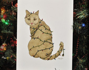 Meowy Catmas, Cat in Lights, Christmas Card, Christmas Cat, Eco Friendly, 100% Recycled Materials