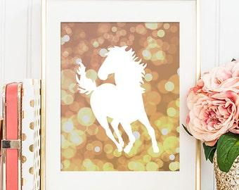 Horse Art Print - 8x10 Wild Stallion, Gold Bokeh, Horse Artwork, Spirit Stallion, Equine, Horse Silhouette, Printable Art