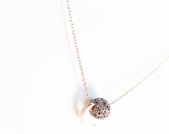 Rose Gold Moon + Gray Lava Aromatherapy Essential Oil Diffuser Necklace