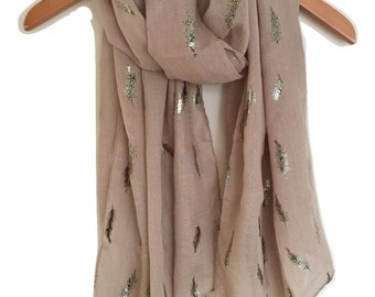 Beige Fern Feather Print Scarf Gold and Black Metallic Fern / Feather  Print Scarf Ladies Womens Scarf Wrap Oversized Scarf Gift Idea