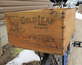 Wooden Crate Bicycle Trunk: Gold Leaf Prunes