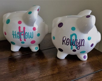 Personalized Piggy Bank, Kids Piggy Bank, Baby shower gift, baby boy, baby girl, Ceramic Piggy Bank,kids piggy banks,personalized kids gift