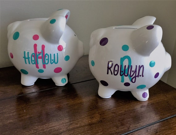 Baby Gift Piggy Bank : Personalized piggy bank kids baby shower gift