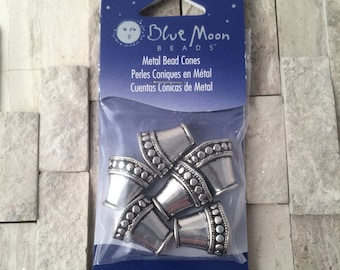 Blue Moon Beads - Large silver tone bead cones