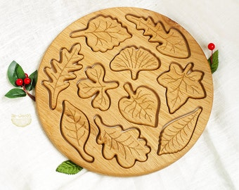 Wooden puzzle Leaves, Handmade developing toy for toddlers and children, Eco friendly organic wood, Learning nature and ecology