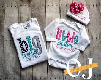 Big Brother Little Sister Personalized Baby Boy Newborn Gift Set- Name Boy Aqua and Pink Infant Gown and Hat Bright Color