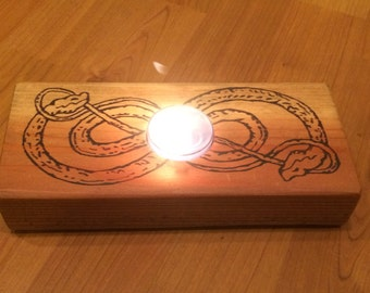 Wooden Votive Holder - Celtic Knot Snake