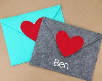 Embroidered Valentine Felt Envelope - Aqua - Gray - Personalized The Way You Want!