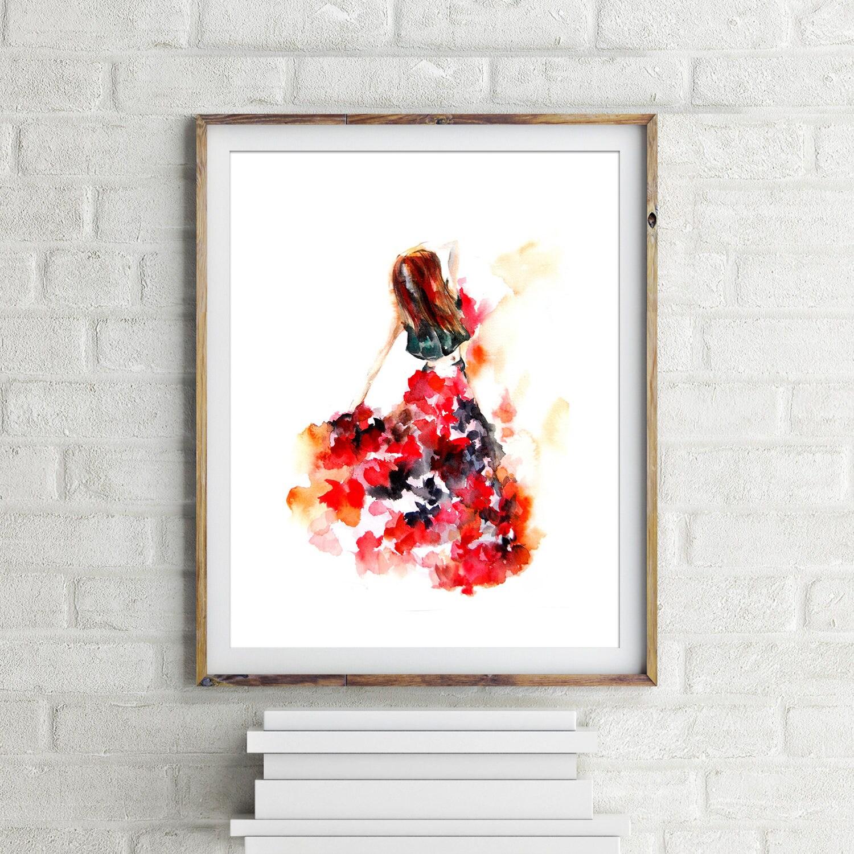 flamenco dancer art print watercolor painting print