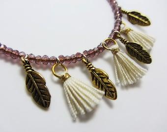 BEADED HOOP EARRINGS, large hoop earrings, beaded dangle earrings, boho earrings, tassel earrings, for her, christmas gift