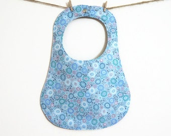 Blue Floral Baby Bib - Baby Bibs Handmade - Baby Shower Gift - New Baby Girl Gift - Unique Baby Gift - Gift for Kids - Toddler Bib - Fashion