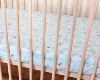 SALE Woodland Blue Crib Sheet / Wildwood /Dashwood Crib Sheet