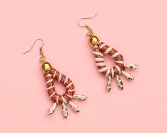 Dagger Statement Earrings, Boho Earrings, Festival Earrings, Summer Jewelry, Textile Earrings, Beaded Earrings, Fabric Earrings
