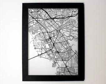 Hayward Map / Laser Cut Map / Hayward CA / Hayward Art / Hayward California / Framed Map / Wedding Gift / Anniversary Gift / Office