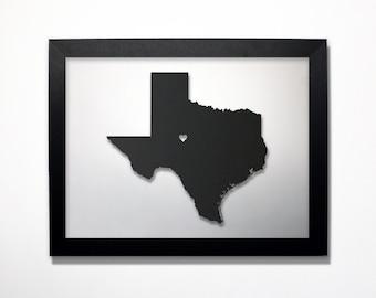 Texas Map / Laser Cut Map / Texas State Art / Texas Art / Framed State Map / Texas Gift / Wedding Gift / Anniversary Gift / Home Decor
