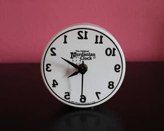 Backwards Clock, The Original Nurdanian Clock, Fun Clock Gag Gift, Wall or Desk Clock, White and Black Clock, Hours Seem Like Months....