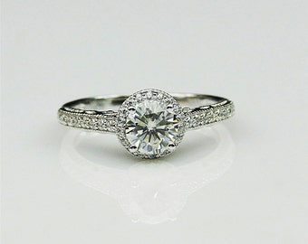 0.8ct Round Esdomera Moissanite Color DEF Vintage Halo 14k White Gold Engagament Ring (CFR0035-MS0.8CT)