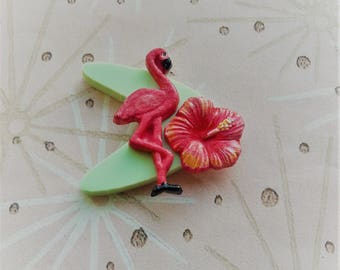 50s Style Tropical Flamingo Brooch,Rockabilly Brooch,Novelty Lucite Style Boomerang Brooch,Tropical Jewelry,Kitsch Accessories,Cocktail Pin