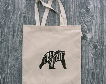 Bear - Free Spirit - 12oz Cotton Canvas Tote Bag