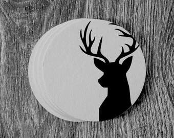 Deer Head Silhouette - Letterpress Hand Printed Round Coaster - Set of 10 Coasters